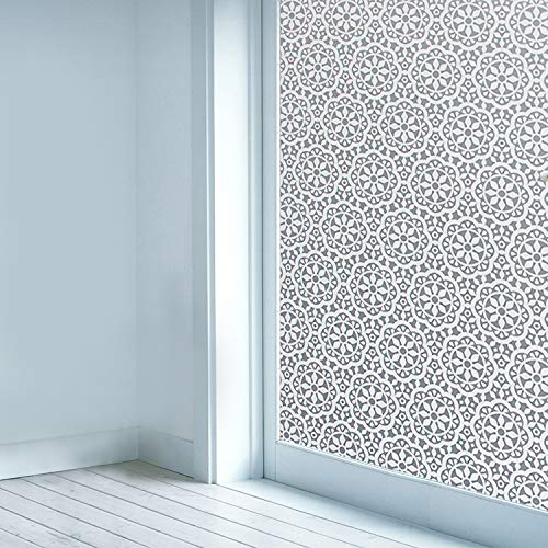 Privacy Window Film Non-Adhesive Glass Window Sticker Paper Static Cling Decorative Snowflake Pattern Flower Decal Panel 17.7