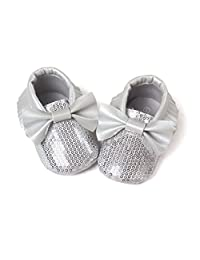 Arich PU Leather Glitter Sequin Bow Knot Soft Bottom Girls Baby Toddler Shoes