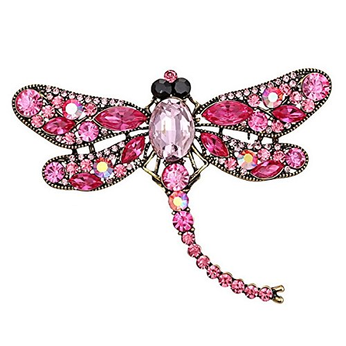 Ailer Pink Wing Dragonfly Brooch Pin Created Crystal Rhinestone Dragonfly Brooches for Women Jewelry Wedding Bouquet -