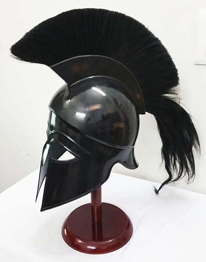 9c2dd7037 Amazon.com: Greek Corinthian Helmet Ancient Medieval Armor Knight Spartan  Replica Helmet with Black Plume: Sports & Outdoors