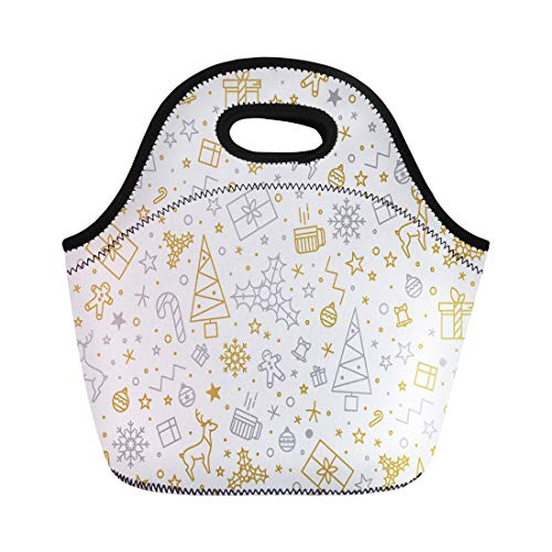 Semtomn Lunch Tote Bag Yellow Tree for Christmas on Gold Beautiful Pattern Luxurious Reusable Neoprene Insulated Thermal Outdoor Picnic Lunchbox for Men Women ()