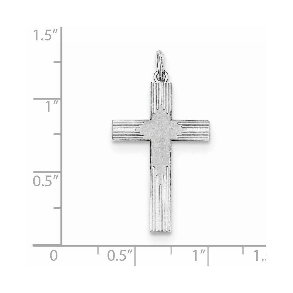 16mm x 30mm Jewel Tie 925 Sterling Silver Laser Designed Cross Pendant
