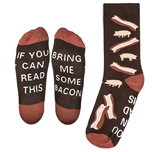 """Bring Me Some Bacon"" Socks - Perfect Novelty Gift for Bacon Lover and Funny White Elephant Gift Idea - By Lavley Expressions"