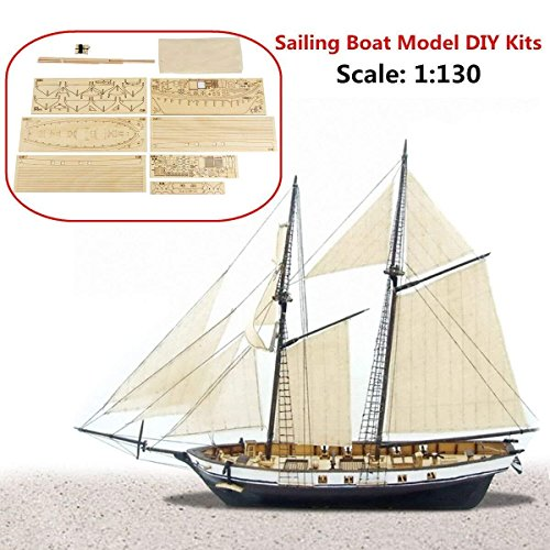 Aissimio 1:130 DIY Ship Assembly Model Kits Classical Wooden Sailing Boat Scale Model Decoration ()