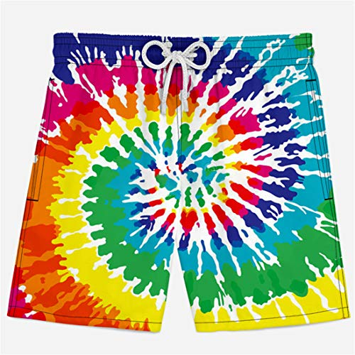 - Men's 3D Printed Tie Dye Creative Funny Swim Trunks with Pockets Long Elastic Waistband S03327 2XL
