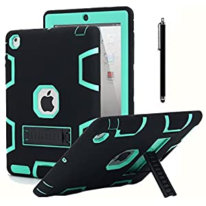 iPad 2 Case,iPad 3 Case,iPad 4 Case, AICase Kickstand Shockproof Heavy Duty Rubber High Impact Resistant Rugged Hybrid Three Layer Armor Protective Case with Stylus for iPad 2/3/4 (Black+Mint Blue)