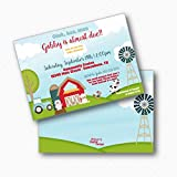 Farm Animal Baby Boy Printed Baby Shower Invitations. Tractor Printed Baby Shower Invitations. 5x7 with Envelopes.