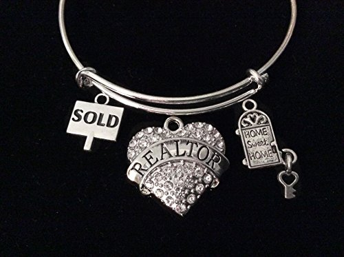 Sold Sign Home Sweet Home Crystal Heart Realtor Bracelet Expandable Adjustable Silver Wire Bangle