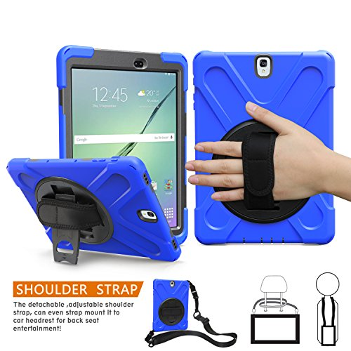 BRAECNstock Galaxy Tab S3 9.7 Case 360 Degree Swivel Stand/Hand Strap/Adjustable Shoulder Strap Case Three Layer Ultra Hybrid Shockproof Full-Body Protective Case for Galaxy Tab S3 9.7 SM-T820/Blue