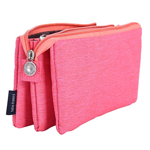 (O,Like Super Capacity Pencil Case Three Compartment Pencil Holer Pencil Pouch Pen Bag Cosmetic Bag (rosered))