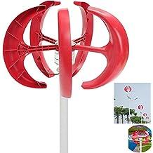 Miidii 12V 400W Vertical Axis Lanterns Electromagnetic Braking Wind Turbine Generator 5 Blades + Charge Controller