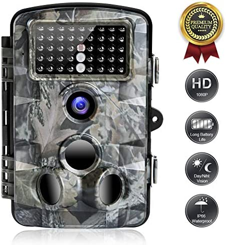 FUNSHION Trail Game Camera 16MP 1080P Waterproof IP66 Hunting Came for Wildlife Monitoring with 120 Detecting Range Motion Activated Infrared Night Vision 2.4 LCD 42pcs IR LEDs