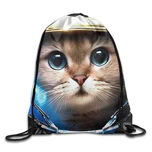 Unisex Space Galaxy Cat Print Drawstring Backpack Rucksack Shoulder Bags Gym Bag Sport Bag -