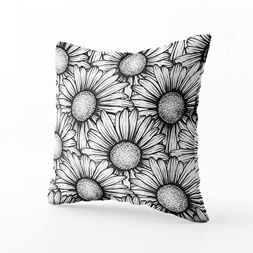 GROOTEY Throw Pillows, Square Pillow Covers with Zip Couch Sofa Décor Beautiful Pattern Flowers Daisy Forgreeting Cards Invitations Wedding Birthday Valentines Day 16X16 Throw Cushion