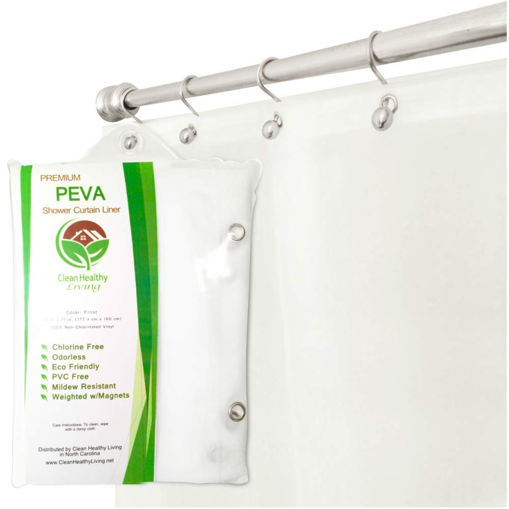 Clean Healthy Living Premium PEVA Shower Liner/Curtain: Odorless & Mildew Resistant (with Magnets & Suction Cups). Eco Friendly 70 x 71 in. Long - Frost Color FBA_LIN-PEV-HD-FRO-1