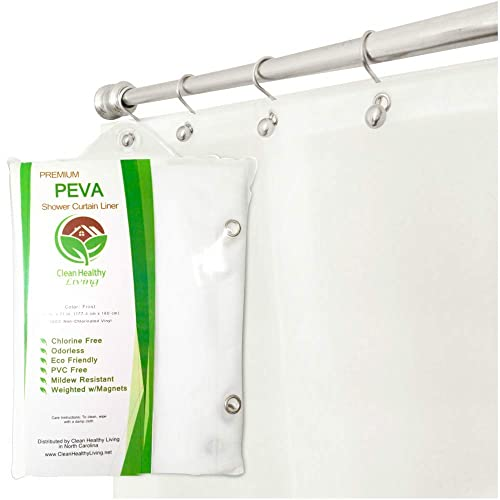 Clean Healthy Living Premium PEVA Shower Liner Curtain Odorless Mildew Resistant With