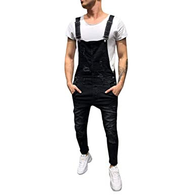 4e0f6878fee5 Fanteecy Men s Casual Washed-Denim Bib Overalls Fashion Slim Fit Ripped  Destroyed Jeans Pants Jumpsuit