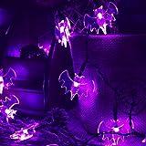 RECESKY Purple Bat String Lights - 20 LED 7.9ft Battery Operated Halloween String Lights for Halloween Party Decor, Halloween Decoration, Halloween Lighting, Indoor, Holiday, Home
