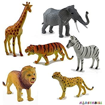 Kidsthrill Jungle Wildlife Animals - Realistically Detailed Figures – Set Of 6 Includes A Giraffe, Elephant, Lion, Zebra, Tiger And A Cheetah