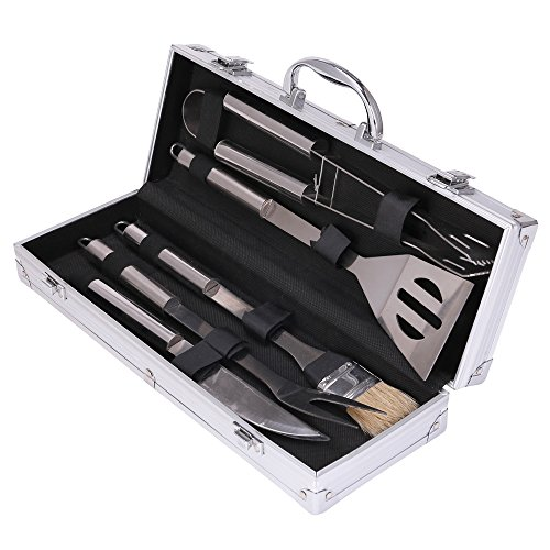Xena 5 Piece BBQ Grill Utensil Set Heavy Duty Stainless Steel Tools Professional Grilling Accessories Complete Outdoor Kit Bar BQ Brush Spatula Tongs Knife