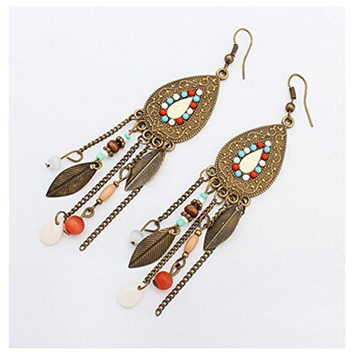 Elakaka Women's Oval Leaves Retro Tassel Beads Earrings