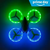 """Force1 Bright LED Quadcopter Drone – """"UFO 3000"""" Easy Fly RC Drone for Kids with Glowing LED Drone Quadcopter Lights + Mini Drone Bonus Battery and Blades"""