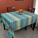 Hand loom 100% Cotton Striped Rectangular Tablecloth Tapestry Throw Thin Bedspread 60 x 90 inches (Twin, Green)