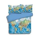 YOUSA World Map Bedding Duvet Cover Set Vivid Map Printed Bedding Twin-3PC