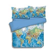 YOUSA Blue Boys Bedding Set World Map Design Bedding Collection Queen-3PC