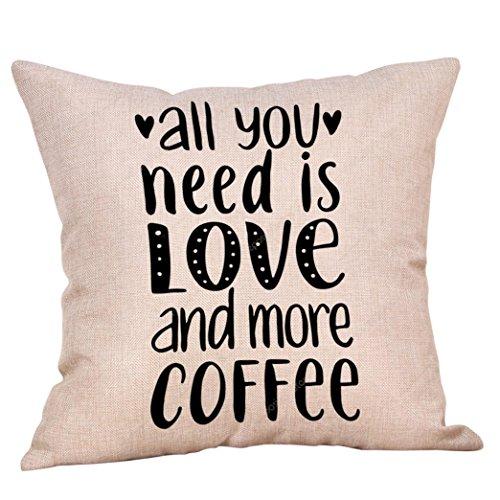 Iuhan Throw Pillow Case Cushion Cover, Coffee Theme Linen Pi