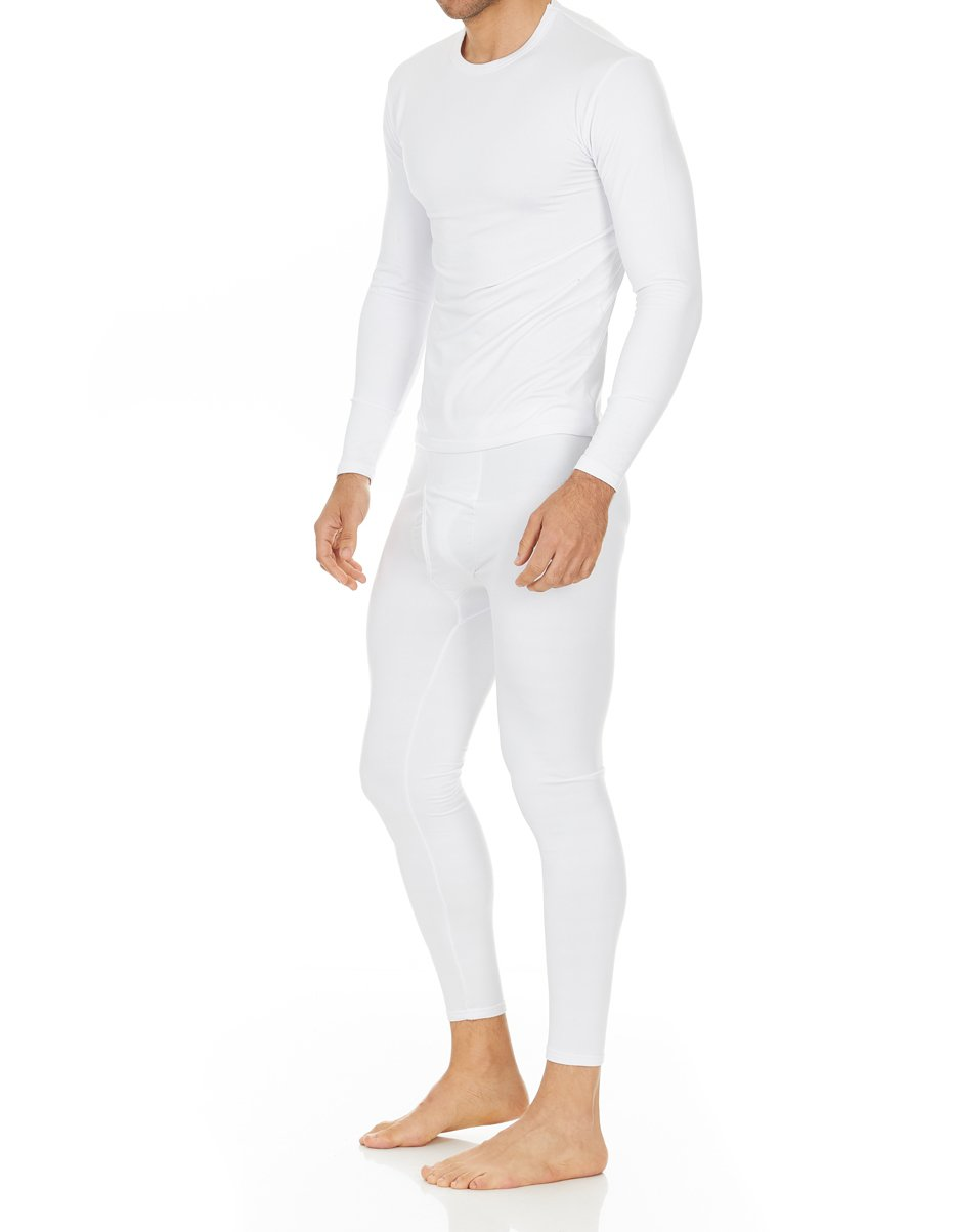 Thermajohn Men's Ultra Soft Thermal Underwear Long Johns Set Fleece Lined (X-Small, White)