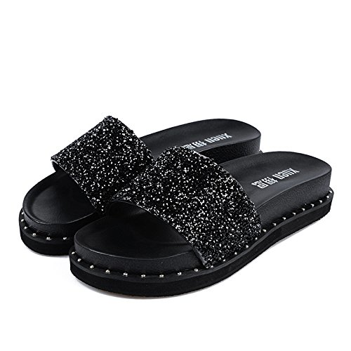 Summer Meiren Slippers 39 Female Black Sandals Sandal Drag Sandals Soled Wild Thick BBqIxCw7