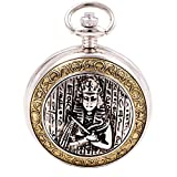 ShoppeWatch Celtic Pocket Watch with Chain Egyptian Pharaoh Mummy Motif Steampunk Cosplay Engravable PW93