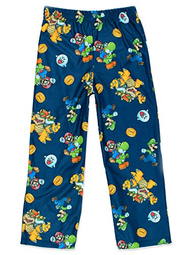 Super Mario Boy's Flannel Lounge Pajama Pants (Medium / 8-10, Navy Blue)