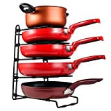 Heavy Duty Pan Pot and Lid Organizer Rack Holder for Cabinet, Pantry, Countertop, Cupboard - Adjustable Compartments