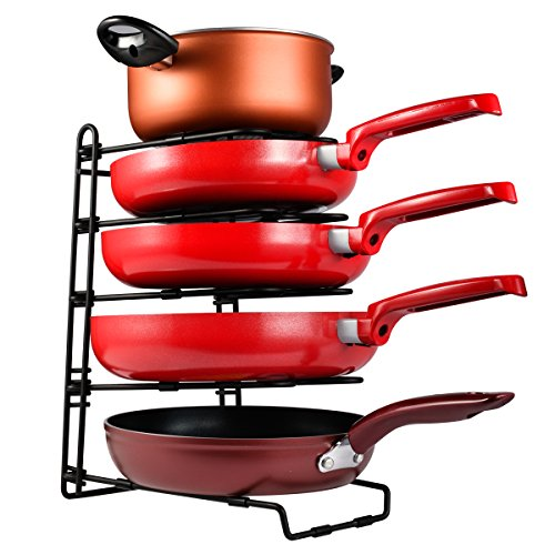 SHMEIQI Heavy Duty Pan Pot Lid Organizer Rack Holder Cabinet
