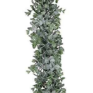 "Supla 8.7' Long 5.9"" Wide Faux Eucalyptus Leaves Garland Fake Artificial Hanging Eucalyptus Greenery Garland in Grey Green for Wedding Holiday Decorations UV Protected Indoor Outdoor 3"