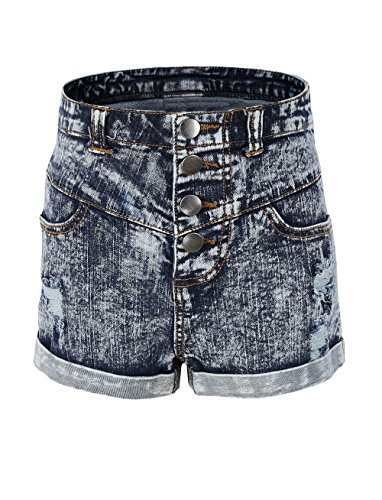 r Denim High Waist Holes Ripped Jeans Shorts Size 14 ()