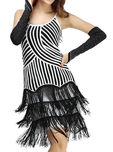 Eyekepper vestido latino de baile de Lady sin manga color contraste rayado borla