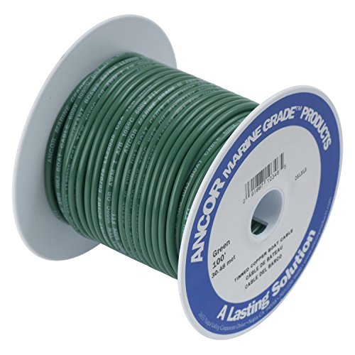 Green Tinned Wire (Ancor 184303 Marine Grade Electrical Primary Tinned Copper Boat Wiring (14-Gauge, Green, 18-Feet))