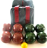 Premium Quality EPCO Tournament Bocce Set - 114mm Red and Green Balls with high quality nylon...