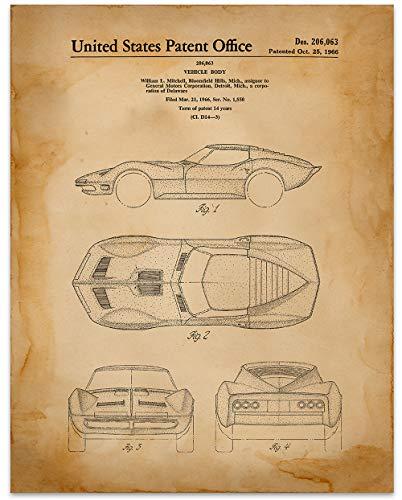 Corvette Wall Art Circa 1966-11 x 14 Unframed Patent Print - Great Gift for Corvette Lovers (Best Gifts For Corvette Lovers)