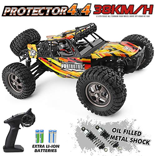 HAIBOXING 12815 RC Car 1:12 Scale 4WD Off-Road Remote Control Truck 38+KM/H High Speed, 2.4 GHz All Terrain Waterproof Radio Controlled Cars with 2 Rechargeable Batteries, RTR Electric RC Trucks - Rc Buggy Car