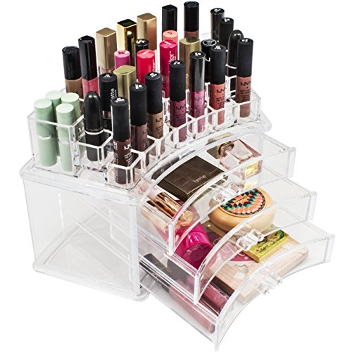 Sorbus Acrylic Large Organizer for Makeup, Cosmetics, Beauty and Nail Polish - 3 Drawers + 19 Slots - Ultra Spacious Design - Great for Bathroom, Dresser, Vanity and Countertop - Out Of Polish Plastic You Can Scratches