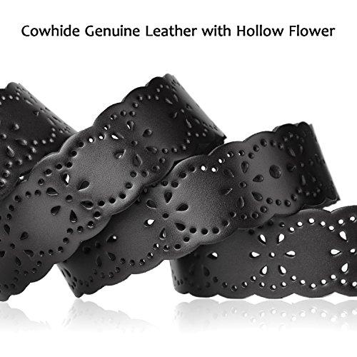 Western Designer Belts for Women,SUOSDEY Black Vintage Leather Belts for Women
