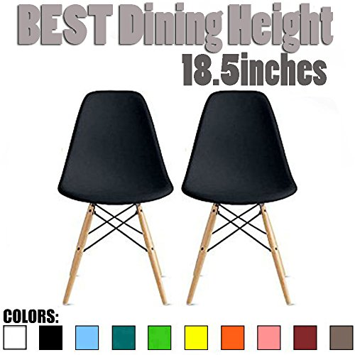 2xhome-Set of Two 2 Black-Eames Style DSW Mid Century Plastic Molded Eiffel Dining Chair