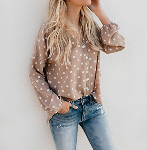 Blouse Printemps Tops Casual Shirts Femmes Manches Tee Chemisiers OUFour Automne Hauts et Longues Pois Shirts Kaki Tunique T OAqwSdH