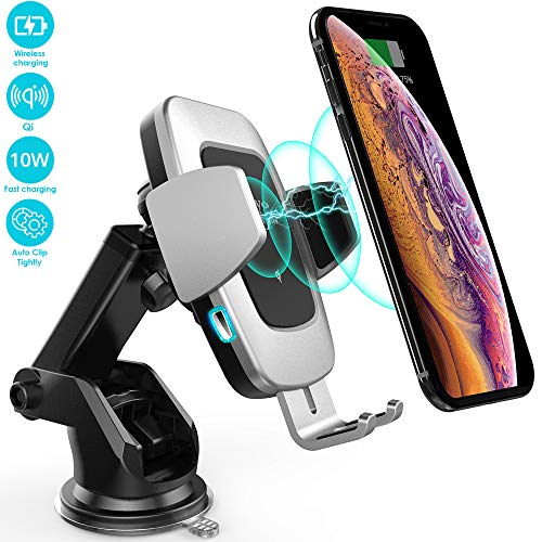 Heiyo Wireless Car Charger, Automatic Clamp Car Phone Holder Qi Charging Cradle 10W/7.5W Fast Charging Compatible for Samsung S10/S9/S9+/S8/Note 8, iPhone Xs Max//Xs/XR/X 8/8 Plus, LG V30(Platinum)