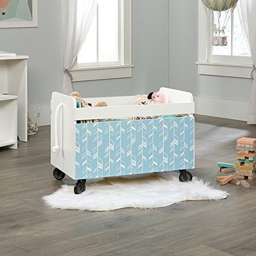 Sauder Pinwheel Wood Rolling Toy Box in Soft White by Sauder