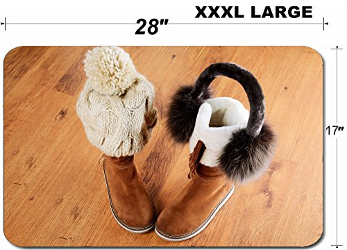 Luxlady Large Table Mat Non-Slip Natural Rubber Desk Pads IMAGE ID: 34389622 winter boots hat and fur headphones on the floor horizontal format